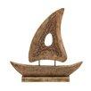 Woodland Imports Stylish Wood Small Ship Sculpture
