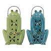 Woodland Imports Cute Frog Ceramic Lantern (Set of 2)