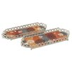 Woodland Imports 2 Piece Designer Tray Set