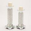 Woodland Imports 2 Piece Glass Candlestick Set