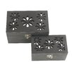Woodland Imports 2 Piece Hollow Box with Mirror Set
