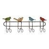 Woodland Imports Quartet of Colorful Singing Sparrows 4 Hook Metal Coat Rack