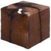 Woodland Imports Wooden Goat Leather Covered Stool
