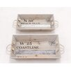 Woodland Imports 2 Piece Rectangular Serving Tray Set