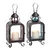Woodland Imports 2 Piece Glass and Metal Lantern Set
