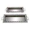 Woodland Imports 2 Piece Metal Mirror Tray Set