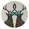 "DENY Designs Sharon Turner 12"" Poinsettia Deer Wall Clock"