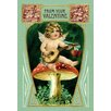 Buyenlarge Angel with Mandolin and Mushrooms Painting Print