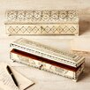 Tozai Zanzibar Long Flower Design Bone Inlay Boxes with Lock and Key (Set of 2)