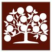 "Oscar & Izzy Folksy Love 4-1/4"" x 4-1/4"" Glossy Decorative Tile in Tree of Life Burgundy"