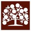 "Oscar & Izzy Folksy Love 6"" x 6"" Glossy Decorative Tile in Tree of Life Burgundy"