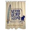 One Bella Casa Doggy Decor Never Surf Alone Shower Curtain