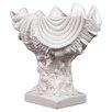 Urban Trends Ceramic Giant Clam Seashell Valve on Coral Pedestal Gloss White