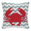 Peking Handicraft Crabs in Waves Hook Wool Throw Pillow