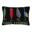 Peking Handicraft Gone Fishing Lures Hook Wool Lumbar Pillow