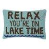 Peking Handicraft Relax Lake Time Hook Wool Lumbar Pillow