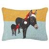 Peking Handicraft Donkey Christmas Hook Wool Throw Pillow