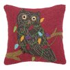 Peking Handicraft Owl with Lights Hook Wool Throw Pillow