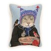Peking Handicraft Needlepoint Hat Cat Wool Throw Pillow