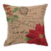 Peking Handicraft Poinsettia Burlap Throw Pillow