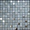 "1"" x 1"" Glass and Stone Metal Tile in Chrome"