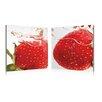 Artistic Bliss Strawberry Splash 2 Piece Framed Photographic Prints Set