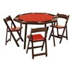 "Kestell Furniture 52"" Oak Folding Poker Table Set"