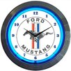"""Neonetics 15"""" Ford Mustang Blue Neon Clock"""