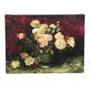"ArtWall ""Roses and Peonies"" by Vincent Van Gogh Painting Print on Wrapped Canvas"