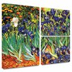ArtWall 'Irises in the Garden' by Vincent Van Gogh Flag 3 Piece Painting Print Gallery-Wrapped on Canvas Set