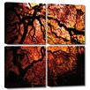 ArtWall 'Fire Breather: Japanese Tree' by John Black 4 Piece Photographic Print Gallery-Wrapped on Canvas Set