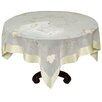 Xia Home Fashions Elegant Sheer with Golden Stitching Leaf Table Topper