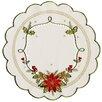 Xia Home Fashions Scrolling Poinsettia Embroidered Cutwork Round Doily (Set of 4)