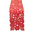 Xia Home Fashions Festive Poinsettia Embroidered Cutwork Holiday Table Runner