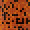 "Giorbello Tesserae Blends 0.75"" x 0.75"" Glass Mosaic Tile in Midnight Fire"