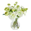 Jane Seymour Botanicals Dahlias and Ranunculus in Glass Vase