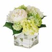 Jane Seymour Botanicals English Roses and Hydrangea Bouquet in Square Glass Vase