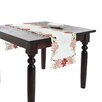 Saro Holiday Poinsettia Embroidered and Cutwork Poinsettia Table Runner
