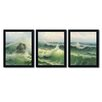 Trademark Fine Art Waves II 3 Piece Framed Painting Print Set