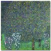 """Trademark Fine Art """"Roses Under the Trees, 1905"""" by Gustav Klimt Painting Print on Wrapped Canvas"""