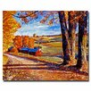 """Trademark Fine Art """"Autumn Evening"""" by David Lloyd Glover Painting Print on Wrapped Canvas"""