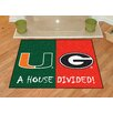 FANMATS Collegiate Green/Red Area Rug