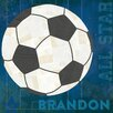 "GreenBox Art ""Soccer All Star Personalized"" by Vicky Barone Graphic Art on Canvas in Blue"