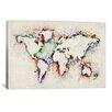 "iCanvas ""Map of the World Paint Splashes"" Canvas Print Wall Art by Michael Thompsett"