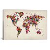 iCanvas 'ButterfliesWorld Map II' by Michael Tompsett Painting Print on Canvas