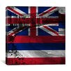 iCanvas Hawaii Flag, Grunge Beach Palm Trees, Square Ocean Waikiki Graphic Art on Canvas
