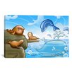 iCanvas Kids Children Seals Dolphins and Whale Cartoon Play Room Canvas Wall Art