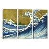 iCanvas Katsushika Hokusai A Colored Version of The Big Wave 3 Piece on Wrapped Canvas Set