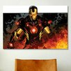iCanvas Iron Man In Flames by Marvel Comics Graphic Art on Canvas