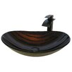 Novatto Painted Glass Vessel Sink with Drain and Faucet